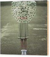 Polka Dotted Umbrella Wood Print by Joana Kruse