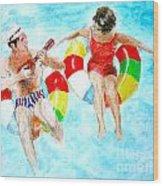 Pool Wood Print by Beth Saffer