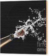 Popping Champagne Cork Wood Print by Gualtiero Boffi