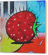 Porcupine Strawberry Wood Print by Snake Jagger