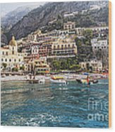 Positano Seaside View Wood Print by George Oze