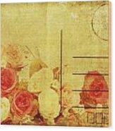 Postcard With Floral Pattern Wood Print by Setsiri Silapasuwanchai