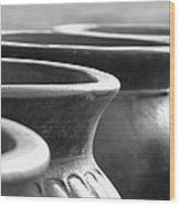 Pots In Black And White Wood Print by Kathy Clark