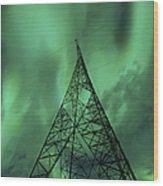 Powerlines And Aurora Borealis Wood Print by Arild Heitmann