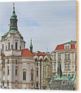 Prague - St Nicholas Church Old Town Square Wood Print by Christine Till
