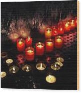 Prague Church Candles Wood Print by Stelios Kleanthous