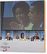President And Michelle Obama Answer Wood Print by Everett
