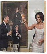 President And Michelle Obama Toast Wood Print by Everett