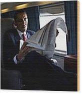 President Barack Obama Reading Wood Print by Everett