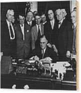 President Franklin D. Roosevelt Seated Wood Print by Everett