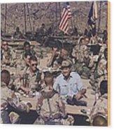 President George Bush Having Wood Print by Everett