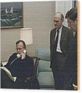 President George Bush In A Telephone Wood Print by Everett