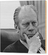 President Gerald Ford Listening Wood Print by Everett