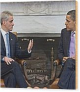 President Obama Meets With Chicago Wood Print by Everett