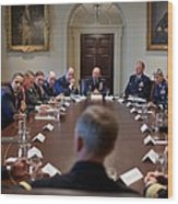 President Obama Meets With Combat Wood Print by Everett