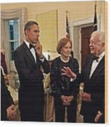 President Obama With Chinese President Wood Print by Everett