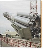 Proton-m Rocket Before Launch Wood Print by Ria Novosti