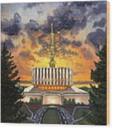 Provo Temple Evening Wood Print by Jeff Brimley