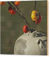 Pumpkin On A Stick In An Old Primitive Moonshine Jug Wood Print by Kathy Clark