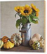 Pumpkins And Sunflowers Wood Print by Nailia Schwarz
