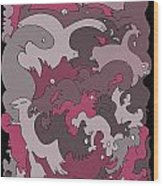 Purple Creatures Wood Print by Barbara Marcus