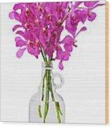Purple Orchid In Bottle Wood Print by Atiketta Sangasaeng