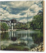 Rail Swing Bridge Wood Print by Joel Witmeyer