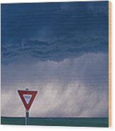 Rain Pours Out Of Dark Clouds On Plains Wood Print by Carsten Peter