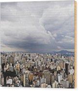 Rain Shower Approaching Downtown Sao Paulo Wood Print by Jeremy Woodhouse