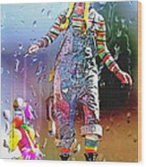Rainy Day Clown 3 Wood Print by Steve Ohlsen