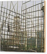 Rare Bamboo Scaffolding Used In Hong Wood Print by Justin Guariglia