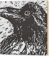 Raven Wood Print by Julia Forsyth