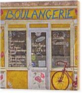 Red Bike At The Boulangerie Wood Print by Debra and Dave Vanderlaan