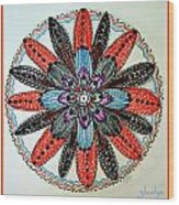 Red Flower Mandala  Wood Print by Gladys Childers