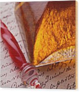 Red Glass Pen  Wood Print by Garry Gay