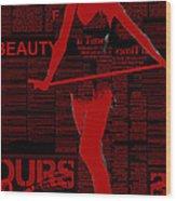 Red Paper Dance Wood Print by Naxart Studio