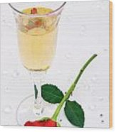 Red Rose And A Glass Of Champagne Wood Print by Richard Thomas