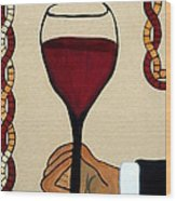 Red Wine Glass Wood Print by Cynthia Amaral