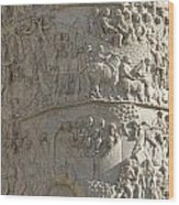 Relief. Detail View Of The Trajan Column. Rome Wood Print by Bernard Jaubert