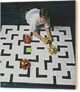 Researcher Testing Lego Robots Playing Pacman Wood Print by Volker Steger