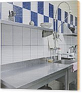 Restaurant Kitchen Sink And Counters Wood Print by Magomed Magomedagaev
