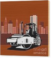 Road Roller  Retro  Wood Print by Aloysius Patrimonio