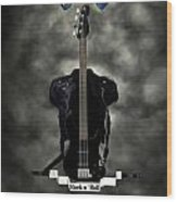 Rock N Roll Crest-the Bassist Wood Print by Frederico Borges