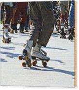 Roller Skates Wood Print by Emanuel Tanjala