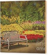 Romantic Flower Garden  Wood Print by Cheryl Davis