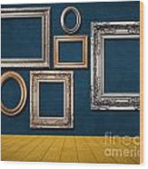 Room With Frames Wood Print by Atiketta Sangasaeng
