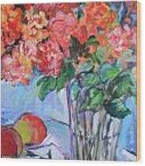 Roses And Peaches Wood Print by Carol Mangano