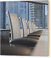 Row Of Chairs And A Table In A Conference Room Wood Print by Jetta Productions, Inc