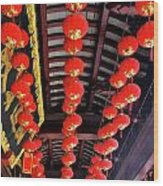 Rows Of Red Chinese Paper Lanterns - Shanghai China Wood Print by Christine Till