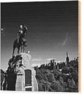 Royal Scots Greys Boer War Monument In Princes Street Gardens Edinburgh Scotland Uk United Kingdom Wood Print by Joe Fox